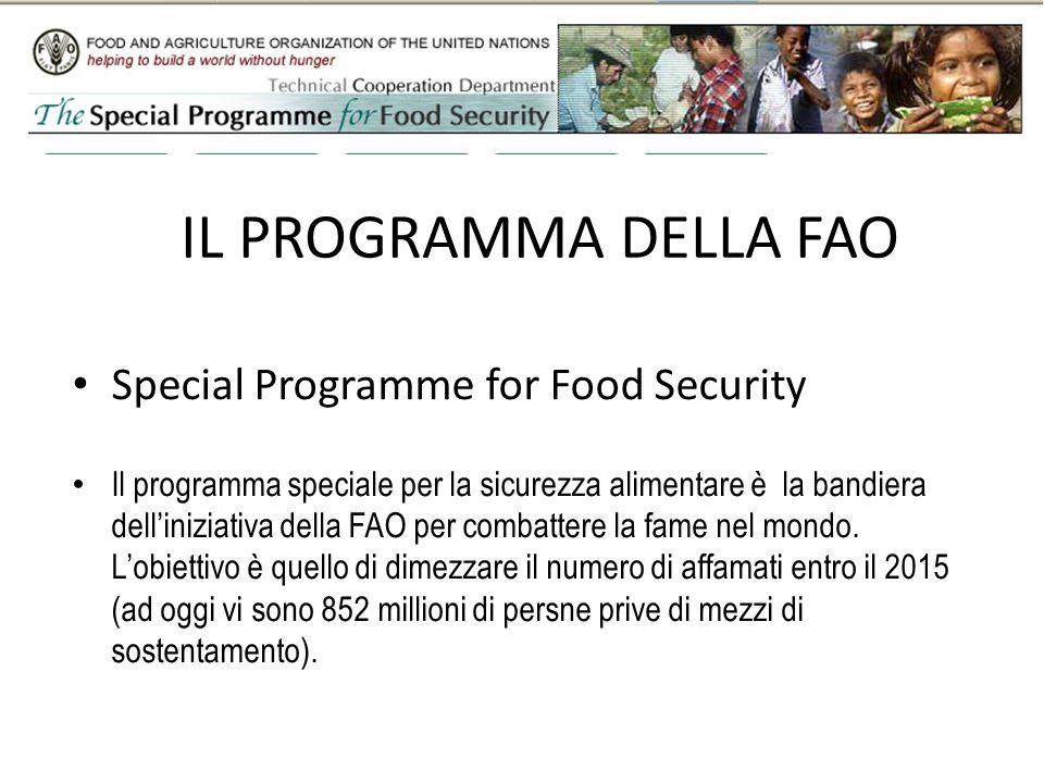 IL PROGRAMMA DELLA FAO Special Programme for Food Security Il programma speciale per la sicurezza alimentare è la bandiera delliniziativa della FAO per combattere la fame nel mondo.