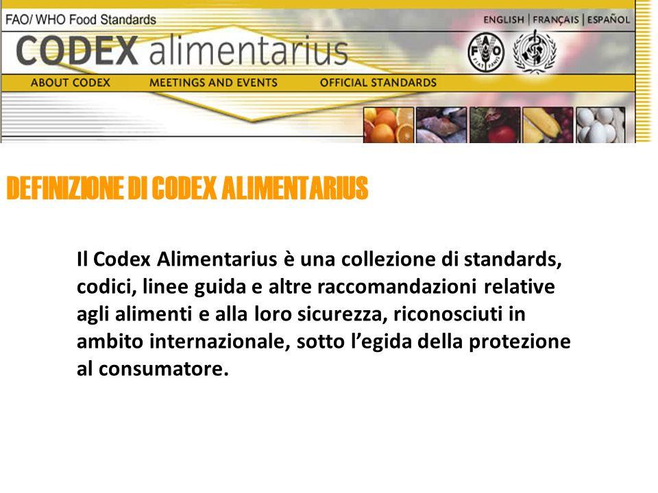 Il Codex Alimentarius è una collezione di standards, codici, linee guida e altre raccomandazioni relative agli alimenti e alla loro sicurezza, riconosciuti in ambito internazionale, sotto legida della protezione al consumatore.