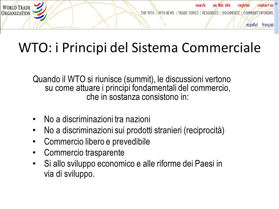 WTO: i Principi del Sistema Commerciale Quando il WTO si riunisce (summit), le discussioni vertono su come attuare i principi fondamentali del commercio, che in sostanza consistono in: No a discriminazioni tra nazioni No a discriminazioni sui prodotti stranieri (reciprocità) Commercio libero e prevedibile Commercio trasparente Si allo sviluppo economico e alle riforme dei Paesi in via di sviluppo.