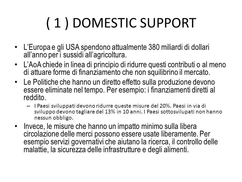 ( 1 ) DOMESTIC SUPPORT LEuropa e gli USA spendono attualmente 380 miliardi di dollari allanno per i sussidi allagricoltura.