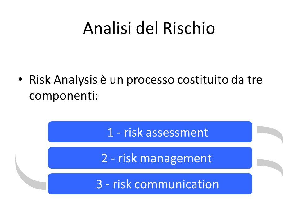 Analisi del Rischio Risk Analysis è un processo costituito da tre componenti: Risk Analysis 1 - risk assessment 2 - risk management 3 - risk communication