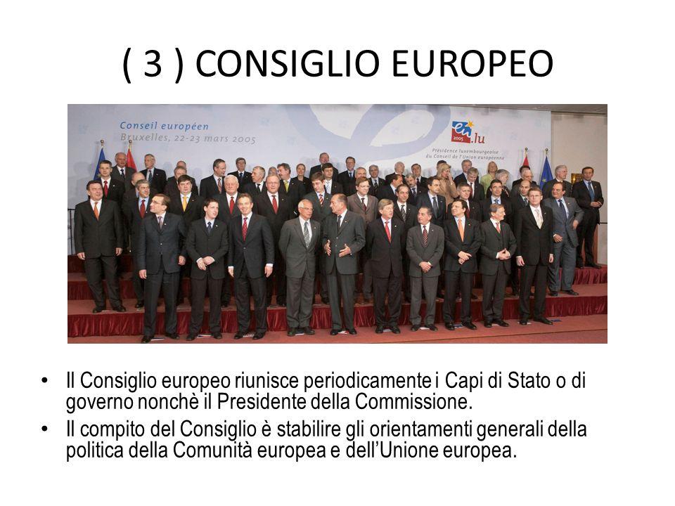( 3 ) CONSIGLIO EUROPEO Il Consiglio europeo riunisce periodicamente i Capi di Stato o di governo nonchè il Presidente della Commissione.