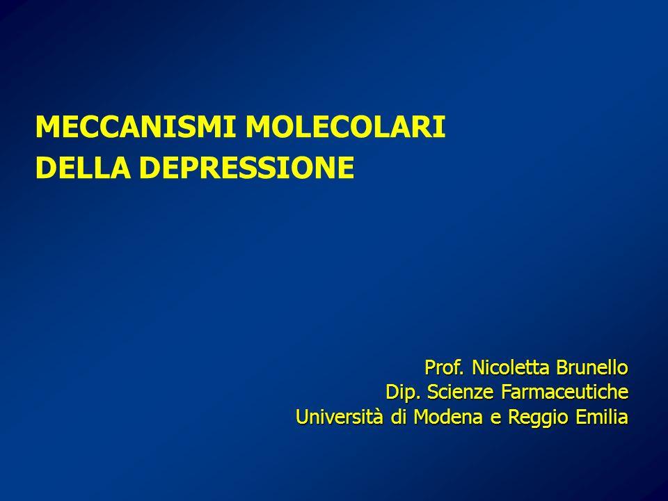 MECCANISMI MOLECOLARI DELLA DEPRESSIONE Prof. Nicoletta Brunello Dip. Scienze Farmaceutiche Università di Modena e Reggio Emilia