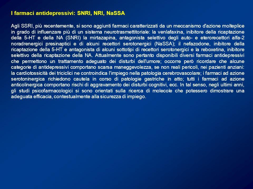 I farmaci antidepressivi: SNRI, NRI, NaSSA Agli SSRI, più recentemente, si sono aggiunti farmaci caratterizzati da un meccanismo d'azione molteplice i