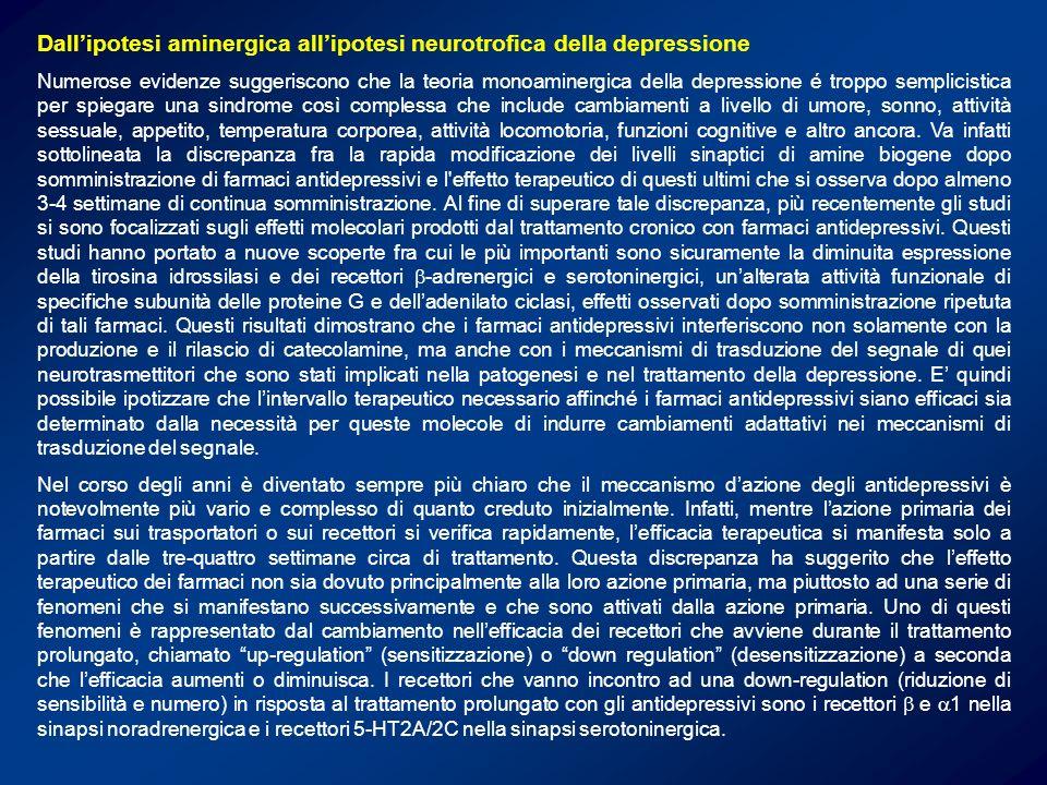 Dallipotesi aminergica allipotesi neurotrofica della depressione Numerose evidenze suggeriscono che la teoria monoaminergica della depressione é tropp