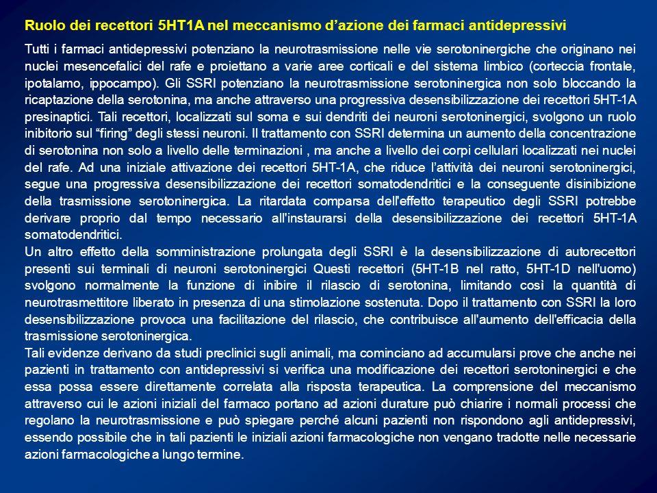 Ruolo dei recettori 5HT1A nel meccanismo dazione dei farmaci antidepressivi Tutti i farmaci antidepressivi potenziano la neurotrasmissione nelle vie s
