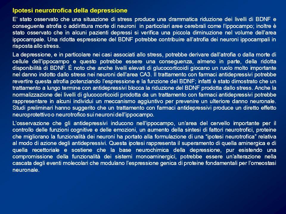 Ipotesi neurotrofica della depressione E stato osservato che una situazione di stress produce una drammatica riduzione dei livelli di BDNF e conseguen