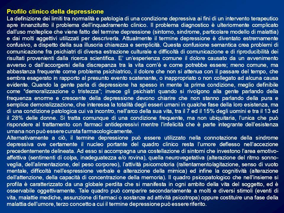 Sintomi controllati dai sistemi monoaminergici Ansia Irritabilità Attenzione Impulsività Ideazione suicidaria Umore, Emotività Funzioni Cognitive Cognitive Sonno, Appetito Funzioni sessuali Aggressività Attività psicomotoria Euforia Motivazione Energia Noradrenalina Dopamina Serotonina