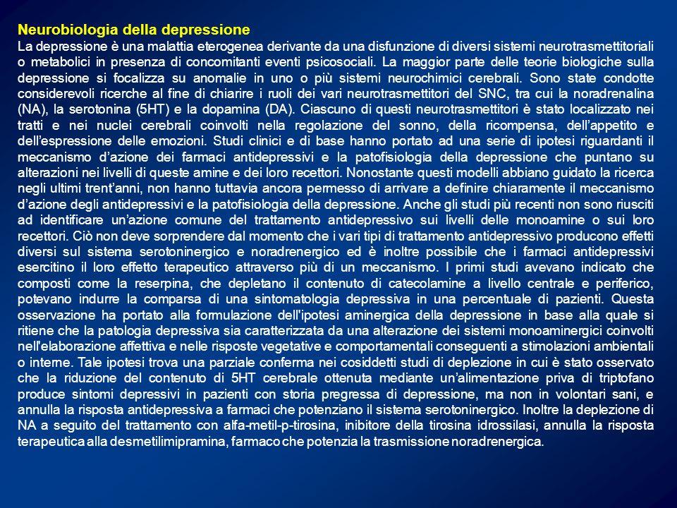 Effetti degli antidepressivi dopo somministrazione cronica Recettore Protein chinasi nucleo effettore Regolazione espressione dei recettori Controllo dellespressione genica Regolazione dei meccanismi di trasduzione a livello citoplasmatico