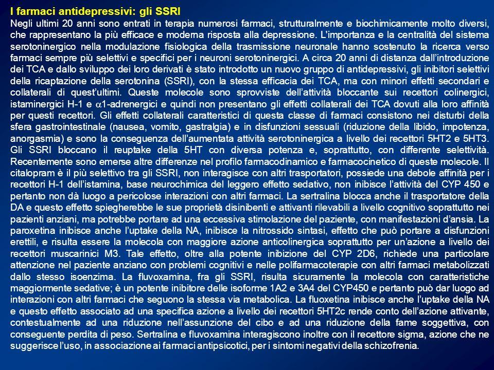 Profilo farmacodinamico e farmacocinetico degli SSRI fluvoxamina SRI sigma CYP3A4 CYP1A2 fluoxetina SRI CYP2D6 CYP3A4 NRI 5HT 2 paroxetina SRICYP2D6NOS NRI M-ACh sertralina DRI sigma SRI citalopram SRI H-1H-1H-1H-1