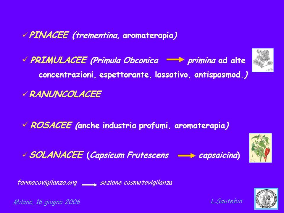 PINACEE ( trementina, aromaterapia) PRIMULACEE (Primula Obconica primina ad alte concentrazioni, espettorante, lassativo, antispasmod.) RANUNCOLACEE R