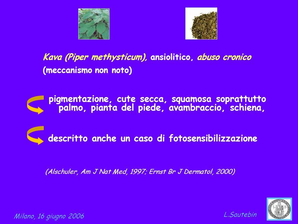 pigmentazione, cute secca, squamosa soprattutto palmo, pianta del piede, avambraccio, schiena, descritto anche un caso di fotosensibilizzazione L.Saut