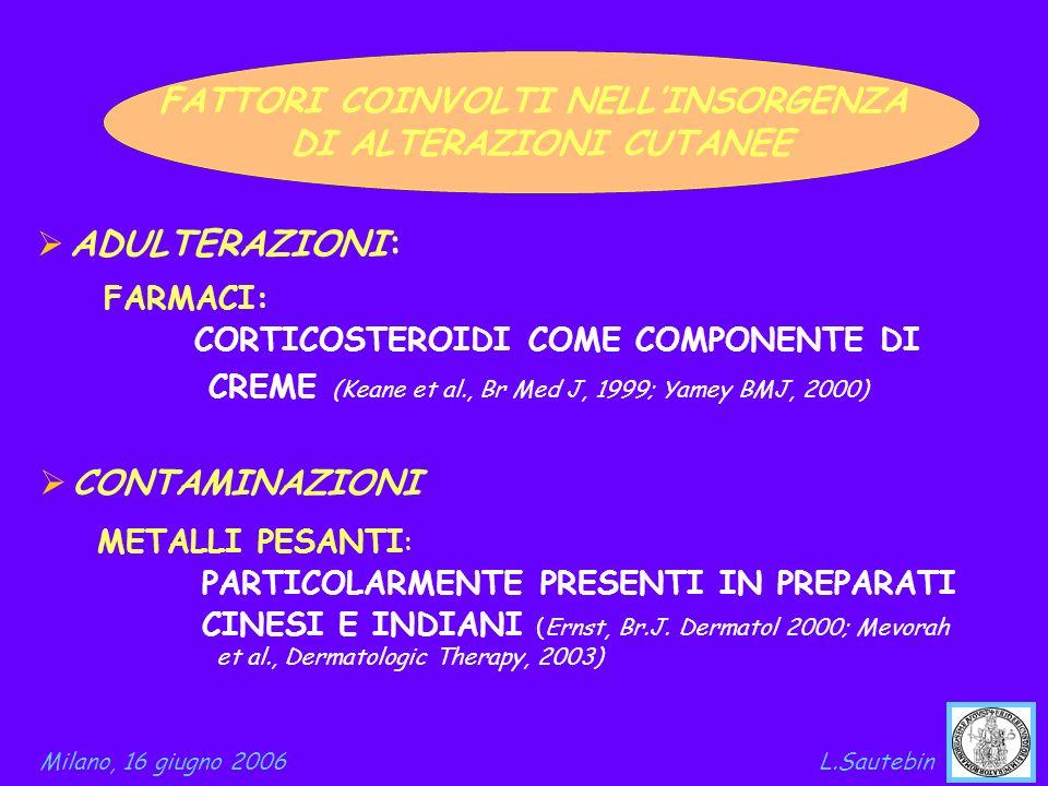 ADULTERAZIONI: FATTORI COINVOLTI NELLINSORGENZA DI ALTERAZIONI CUTANEE FARMACI: CORTICOSTEROIDI COME COMPONENTE DI CREME (Keane et al., Br Med J, 1999