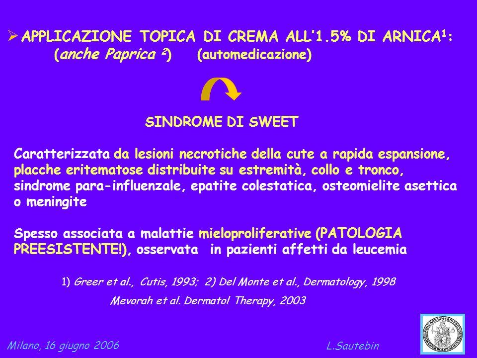 APPLICAZIONE TOPICA DI CREMA ALL1.5% DI ARNICA 1 : ( anche Paprica 2 )(automedicazione) Mevorah et al. Dermatol Therapy, 2003 Milano, 16 giugno 2006 L