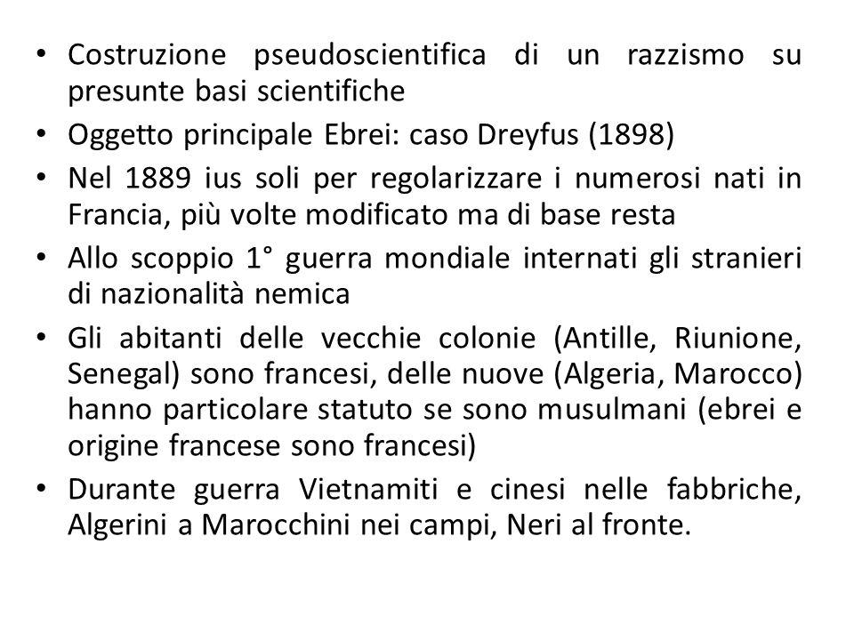 Costruzione pseudoscientifica di un razzismo su presunte basi scientifiche Oggetto principale Ebrei: caso Dreyfus (1898) Nel 1889 ius soli per regolar