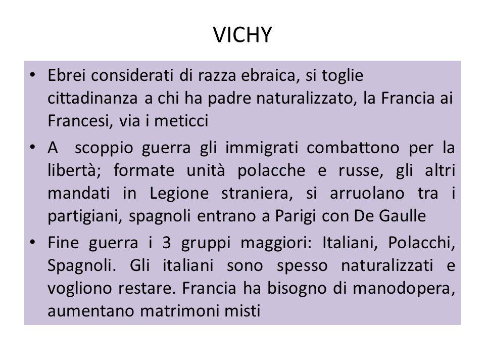 VICHY Ebrei considerati di razza ebraica, si toglie cittadinanza a chi ha padre naturalizzato, la Francia ai Francesi, via i meticci A scoppio guerra