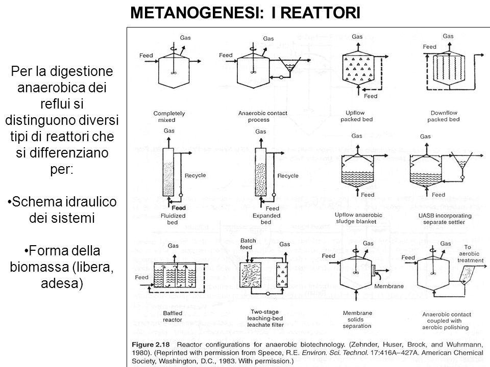 METANOGENESI: I REATTORI Per la digestione anaerobica dei reflui si distinguono diversi tipi di reattori che si differenziano per: Schema idraulico de