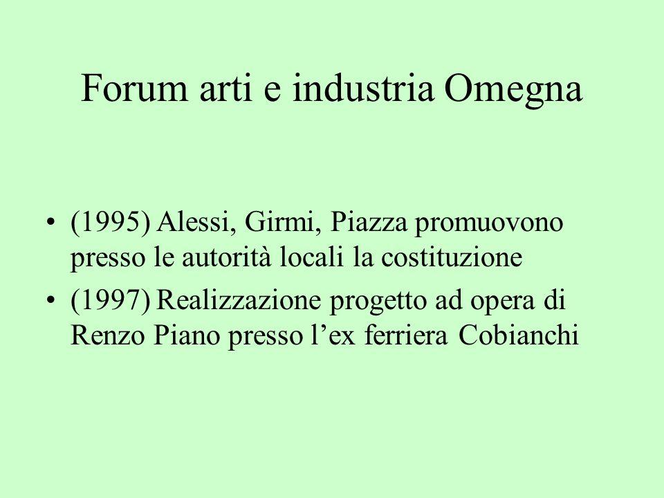 Forum arti e industria Omegna (1995) Alessi, Girmi, Piazza promuovono presso le autorità locali la costituzione (1997) Realizzazione progetto ad opera