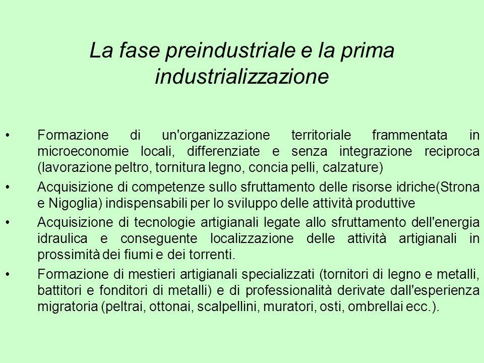 La fase preindustriale e la prima industrializzazione Formazione di un'organizzazione territoriale frammentata in microeconomie locali, differenziate
