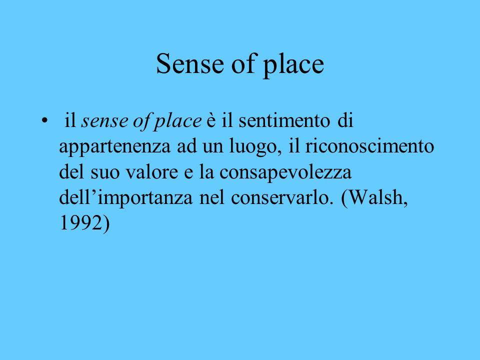 Sense of place il sense of place è il sentimento di appartenenza ad un luogo, il riconoscimento del suo valore e la consapevolezza dellimportanza nel conservarlo.
