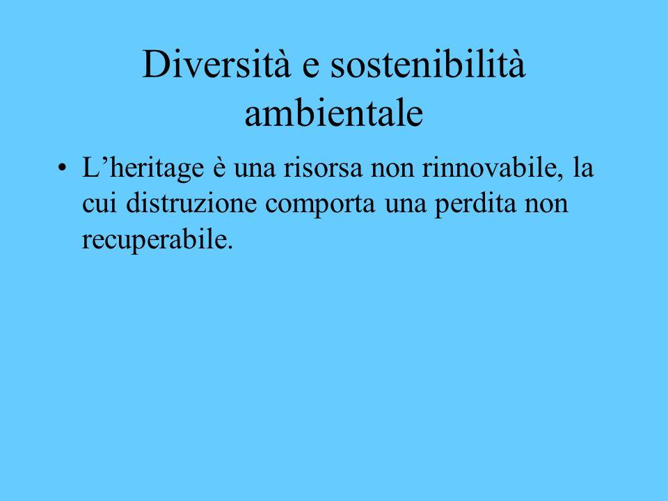 Diversità e sostenibilità ambientale Lheritage è una risorsa non rinnovabile, la cui distruzione comporta una perdita non recuperabile.