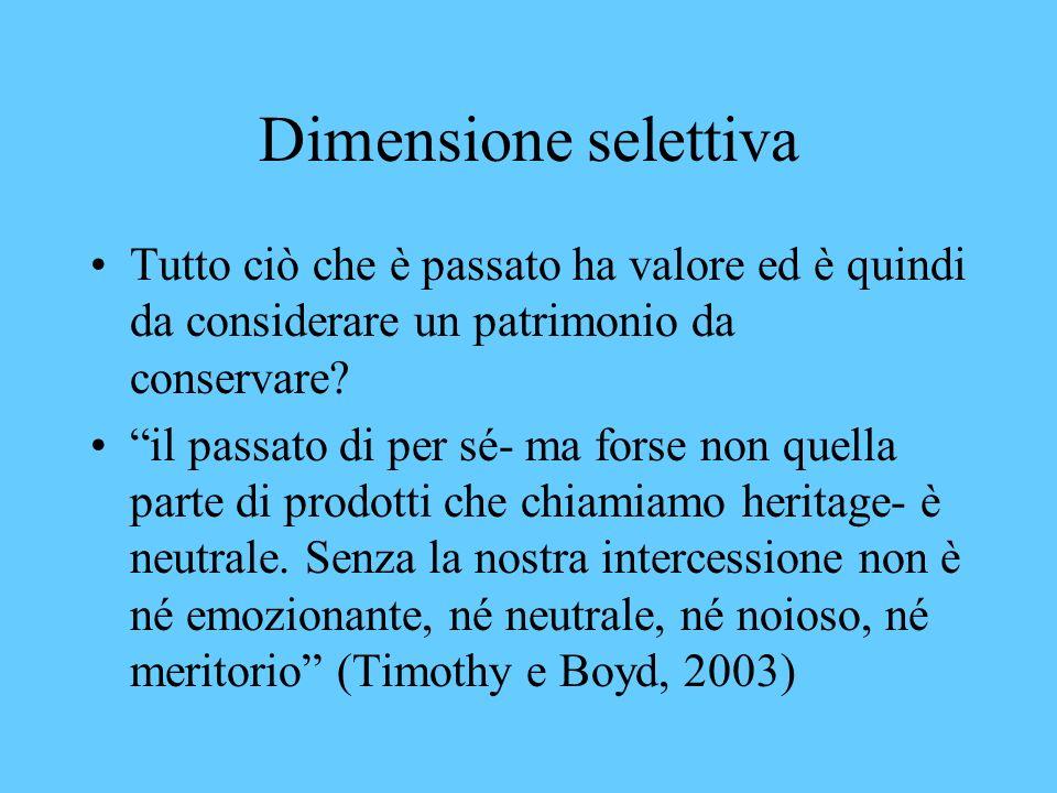 Dimensione selettiva Tutto ciò che è passato ha valore ed è quindi da considerare un patrimonio da conservare.