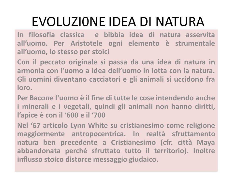 EVOLUZI0NE IDEA DI NATURA In filosofia classica e bibbia idea di natura asservita alluomo. Per Aristotele ogni elemento è strumentale alluomo, lo stes