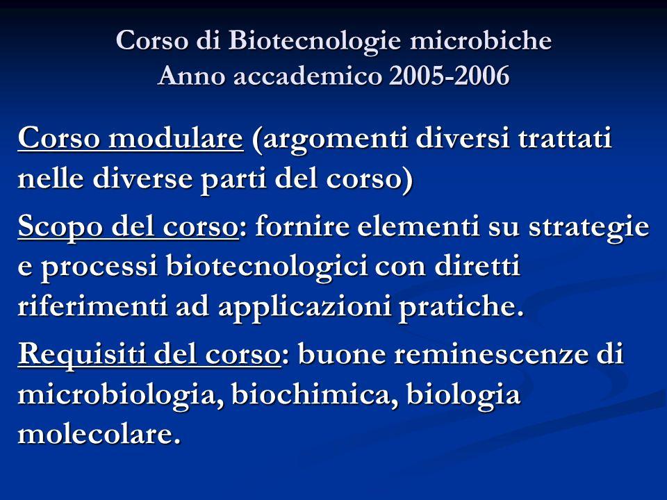 Corso di Biotecnologie microbiche Anno accademico 2005-2006 Corso modulare (argomenti diversi trattati nelle diverse parti del corso) Scopo del corso: