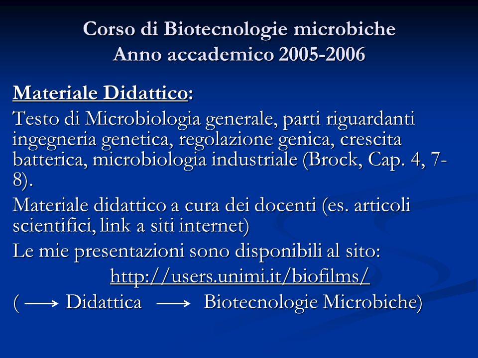 Corso di Biotecnologie microbiche Anno accademico 2005-2006 Materiale Didattico: Testo di Microbiologia generale, parti riguardanti ingegneria genetic