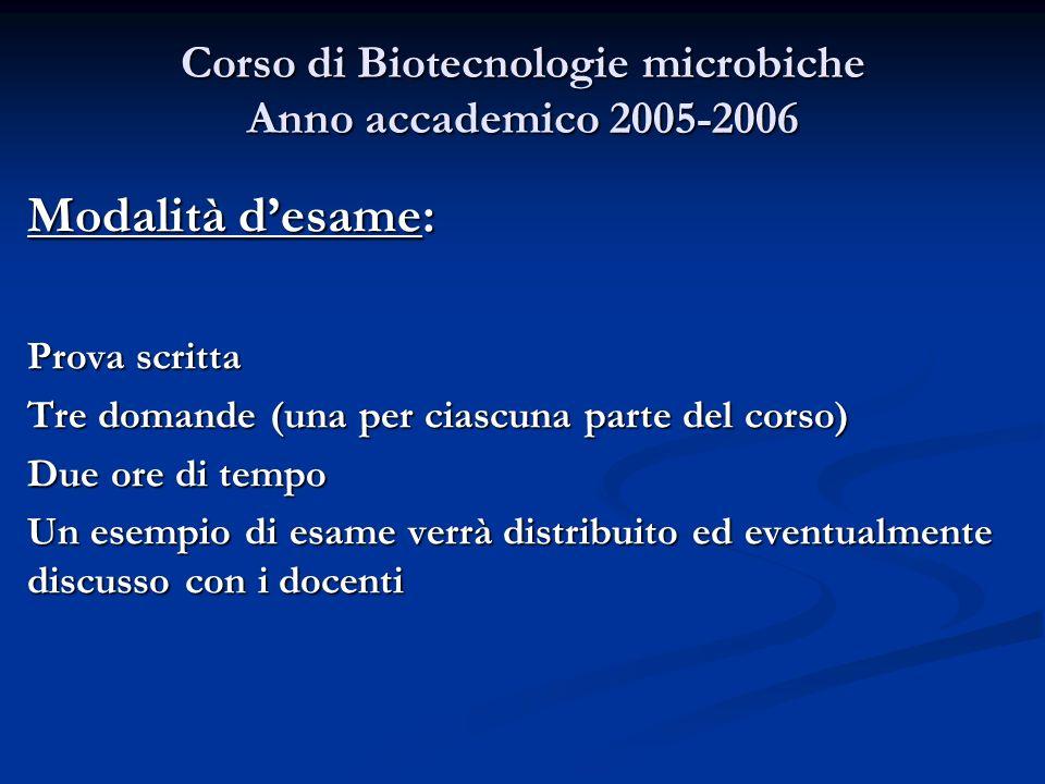 Corso di Biotecnologie microbiche Anno accademico 2005-2006 Modalità desame: Prova scritta Tre domande (una per ciascuna parte del corso) Due ore di t