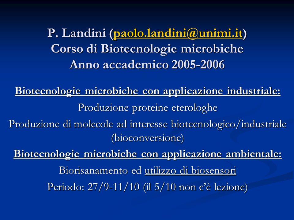 P. Landini (paolo.landini@unimi.it) Corso di Biotecnologie microbiche Anno accademico 2005-2006 paolo.landini@unimi.it Biotecnologie microbiche con ap