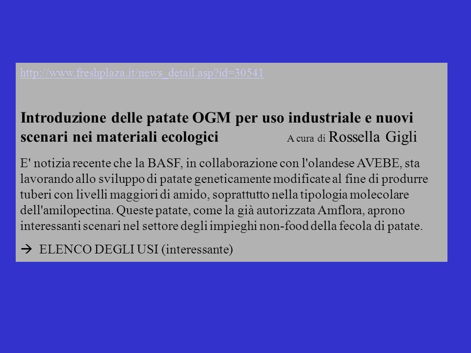 http://www.freshplaza.it/news_detail.asp?id=30541 Introduzione delle patate OGM per uso industriale e nuovi scenari nei materiali ecologici A cura di