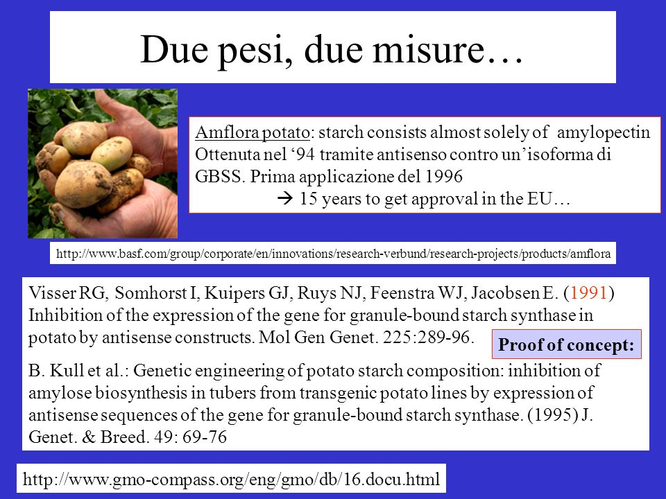 Due pesi, due misure… http://www.basf.com/group/corporate/en/innovations/research-verbund/research-projects/products/amflora Amflora potato: starch co
