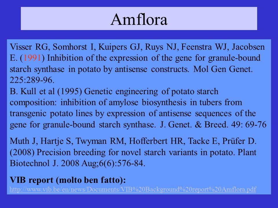 Amflora Visser RG, Somhorst I, Kuipers GJ, Ruys NJ, Feenstra WJ, Jacobsen E. (1991) Inhibition of the expression of the gene for granule-bound starch