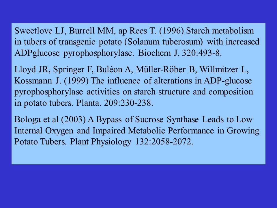 Sweetlove LJ, Burrell MM, ap Rees T. (1996) Starch metabolism in tubers of transgenic potato (Solanum tuberosum) with increased ADPglucose pyrophospho