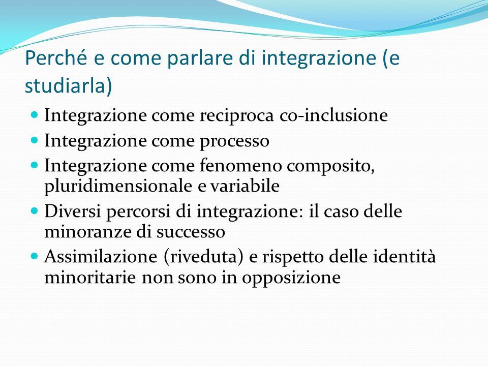 Perché e come parlare di integrazione (e studiarla) Integrazione come reciproca co-inclusione Integrazione come processo Integrazione come fenomeno co