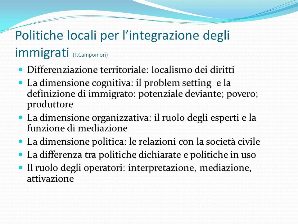 Politiche locali per lintegrazione degli immigrati (F.Campomori) Differenziazione territoriale: localismo dei diritti La dimensione cognitiva: il prob