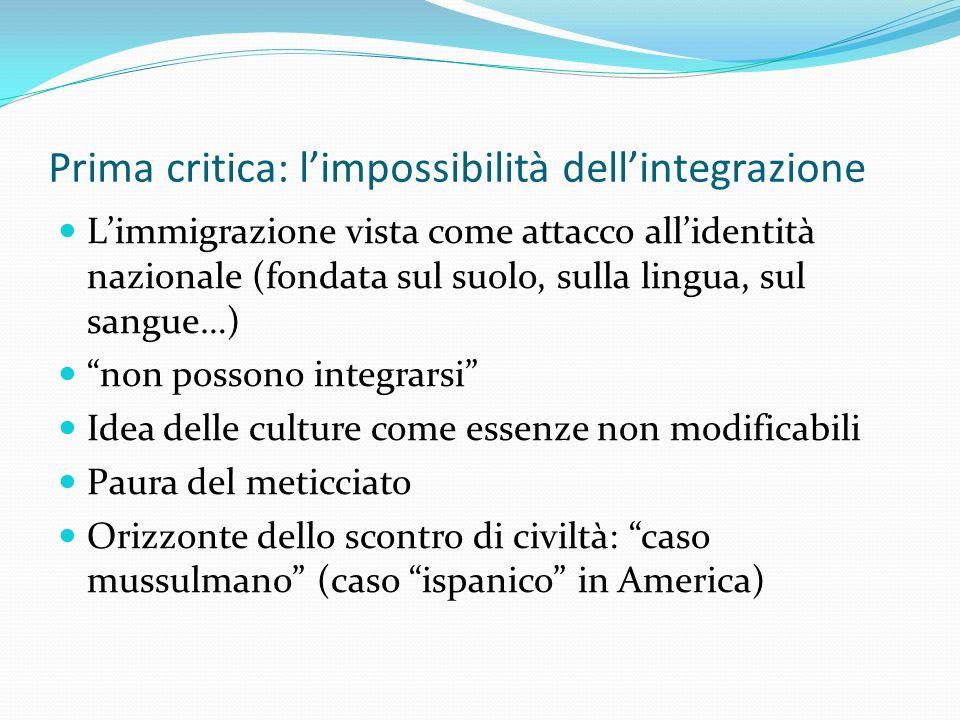 Prima critica: limpossibilità dellintegrazione Limmigrazione vista come attacco allidentità nazionale (fondata sul suolo, sulla lingua, sul sangue…) n