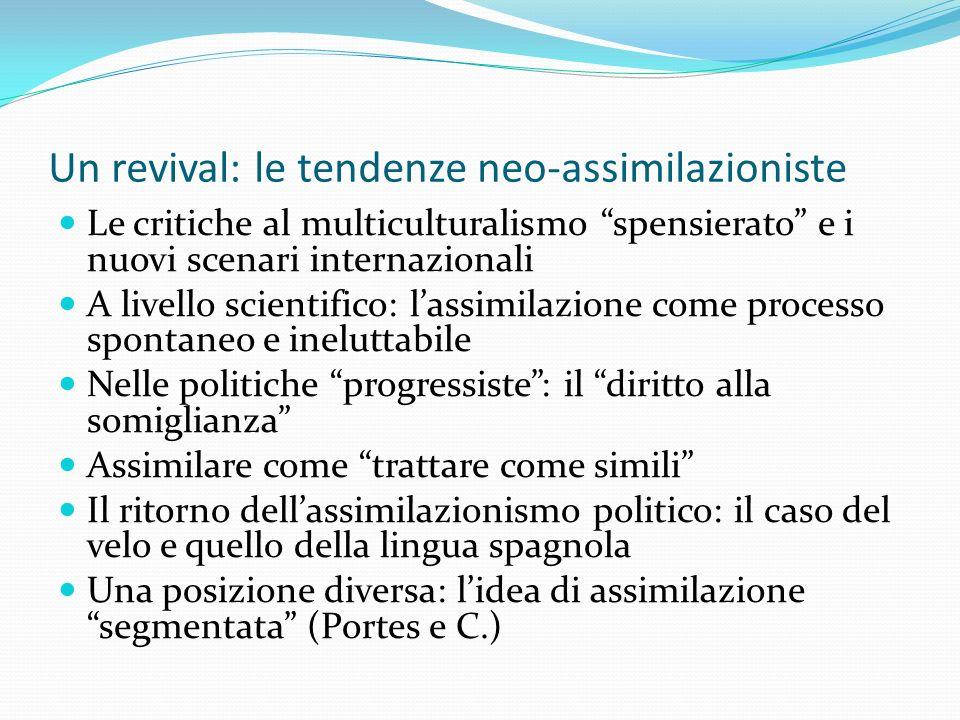 Un revival: le tendenze neo-assimilazioniste Le critiche al multiculturalismo spensierato e i nuovi scenari internazionali A livello scientifico: lass