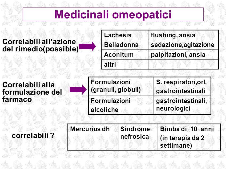 Lachesisflushing, ansia Belladonnasedazione,agitazione Aconitumpalpitazioni, ansia altri Correlabili allazione del rimedio(possible) Correlabili alla