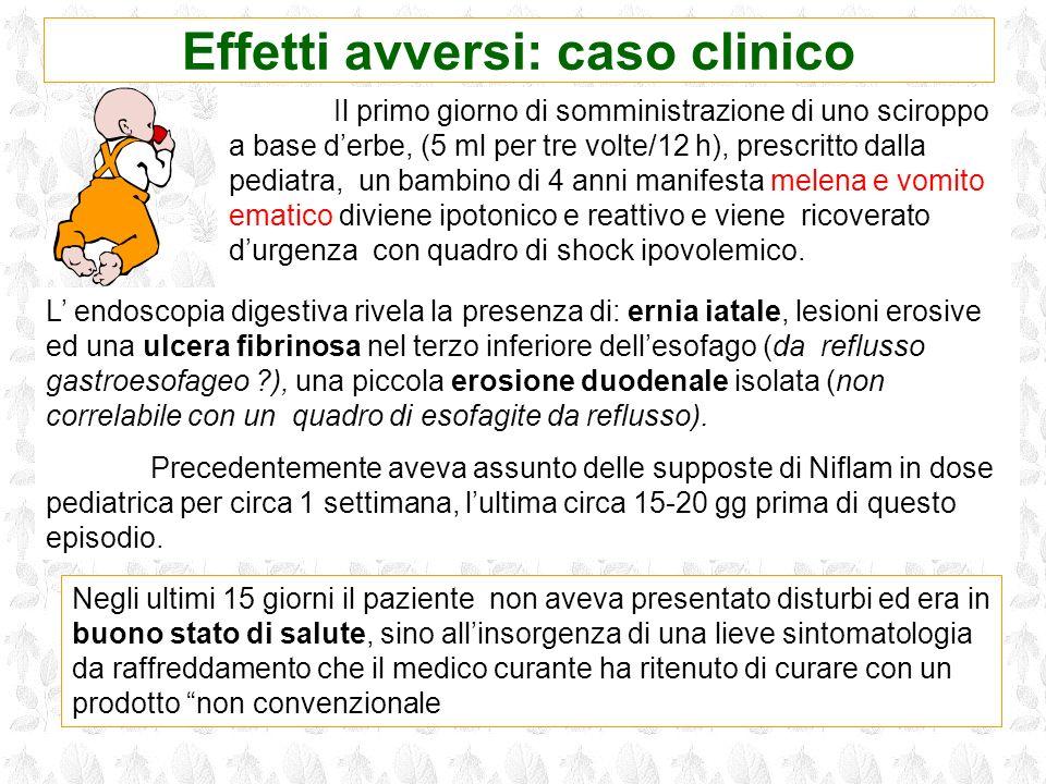 Il primo giorno di somministrazione di uno sciroppo a base derbe, (5 ml per tre volte/12 h), prescritto dalla pediatra, un bambino di 4 anni manifesta