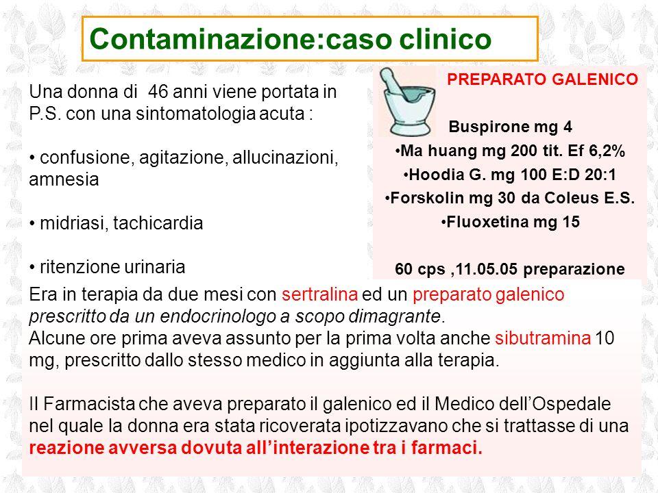 PREPARATO GALENICO Buspirone mg 4 Ma huang mg 200 tit. Ef 6,2% Hoodia G. mg 100 E:D 20:1 Forskolin mg 30 da Coleus E.S. Fluoxetina mg 15 60 cps,11.05.
