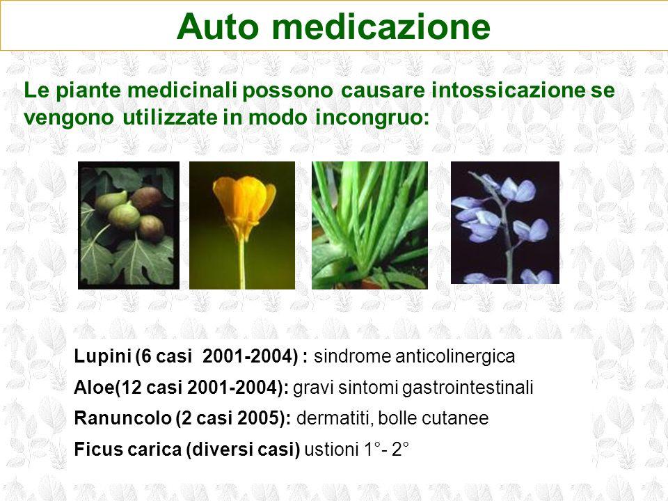 Auto medicazione Lupini (6 casi 2001-2004) : sindrome anticolinergica Aloe(12 casi 2001-2004): gravi sintomi gastrointestinali Ranuncolo (2 casi 2005)