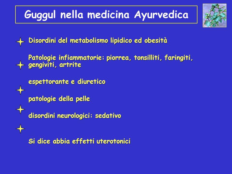 Guggul nella medicina Ayurvedica Disordini del metabolismo lipidico ed obesità Patologie infiammatorie: piorrea, tonsilliti, faringiti, gengiviti, art