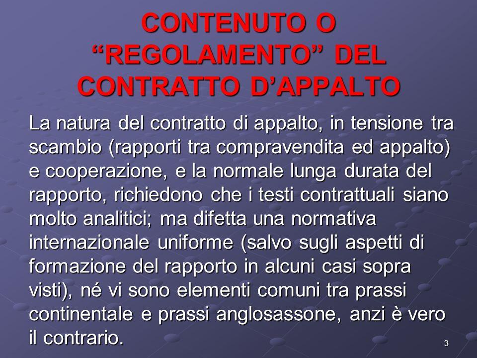 3 CONTENUTO O REGOLAMENTO DEL CONTRATTO DAPPALTO La natura del contratto di appalto, in tensione tra scambio (rapporti tra compravendita ed appalto) e