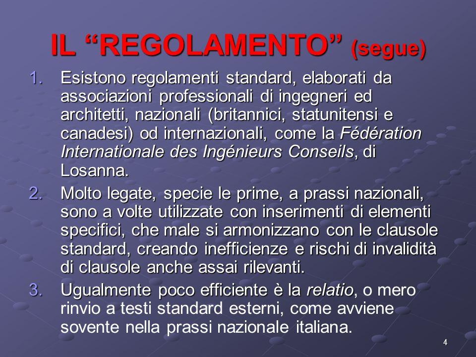 4 IL REGOLAMENTO (segue) 1.Esistono regolamenti standard, elaborati da associazioni professionali di ingegneri ed architetti, nazionali (britannici, s