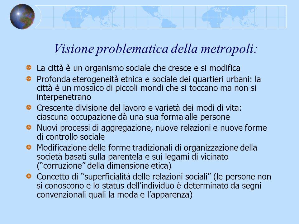 Visione problematica della metropoli: La città è un organismo sociale che cresce e si modifica Profonda eterogeneità etnica e sociale dei quartieri ur