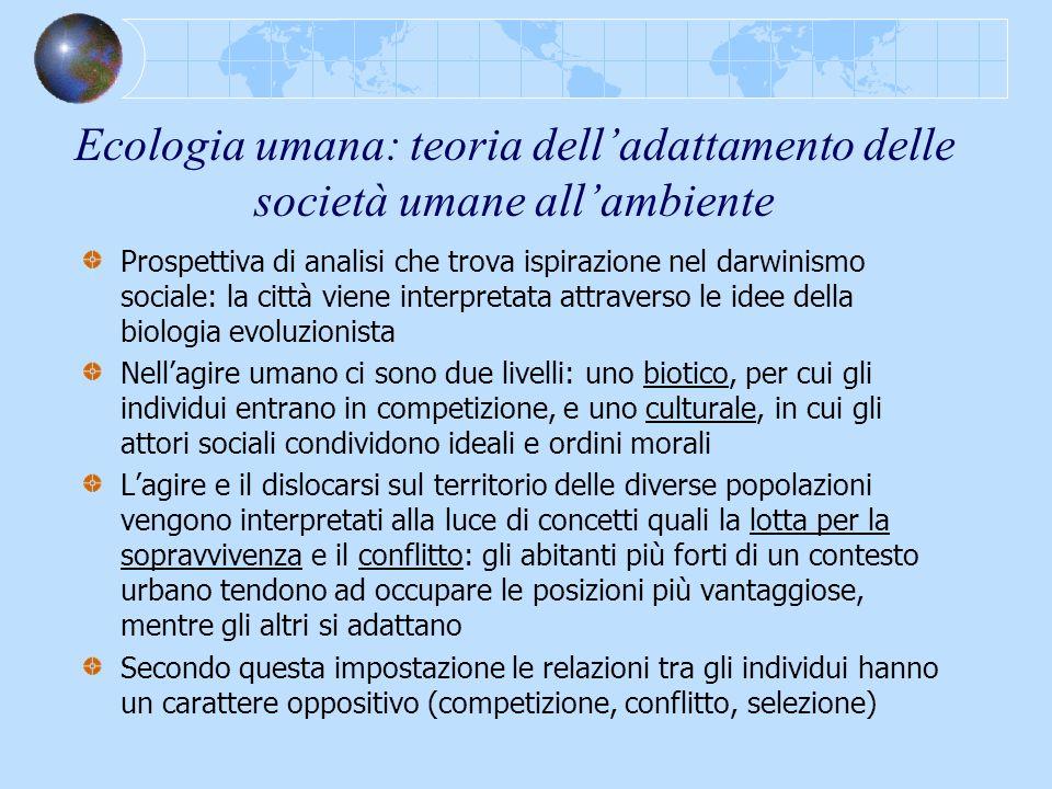 Ecologia umana: teoria delladattamento delle società umane allambiente Prospettiva di analisi che trova ispirazione nel darwinismo sociale: la città v