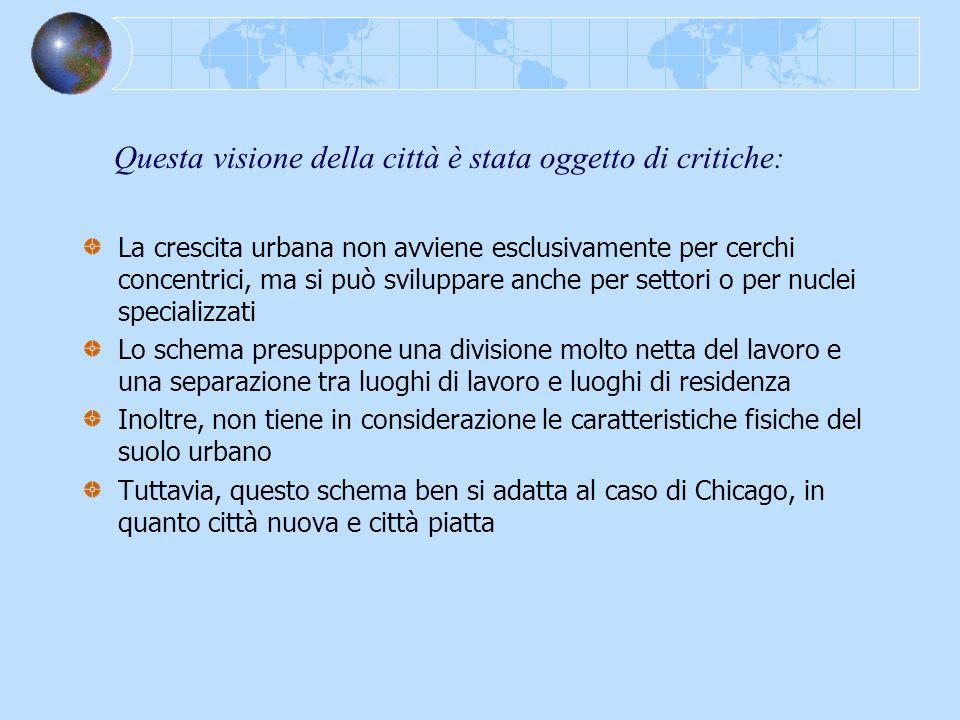 Questa visione della città è stata oggetto di critiche: La crescita urbana non avviene esclusivamente per cerchi concentrici, ma si può sviluppare anc