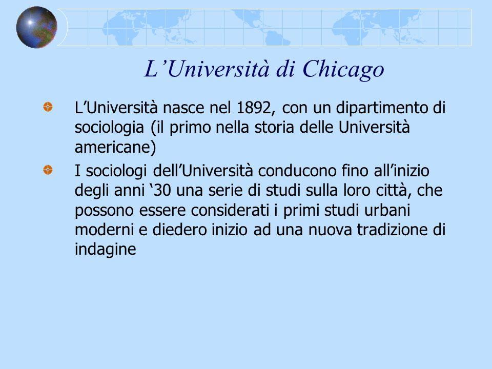 LUniversità di Chicago LUniversità nasce nel 1892, con un dipartimento di sociologia (il primo nella storia delle Università americane) I sociologi de